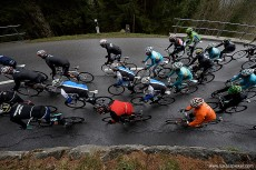 The racers brave the harsh conditions in stage 4 of the Tour de Romandie April 27, 2013.
