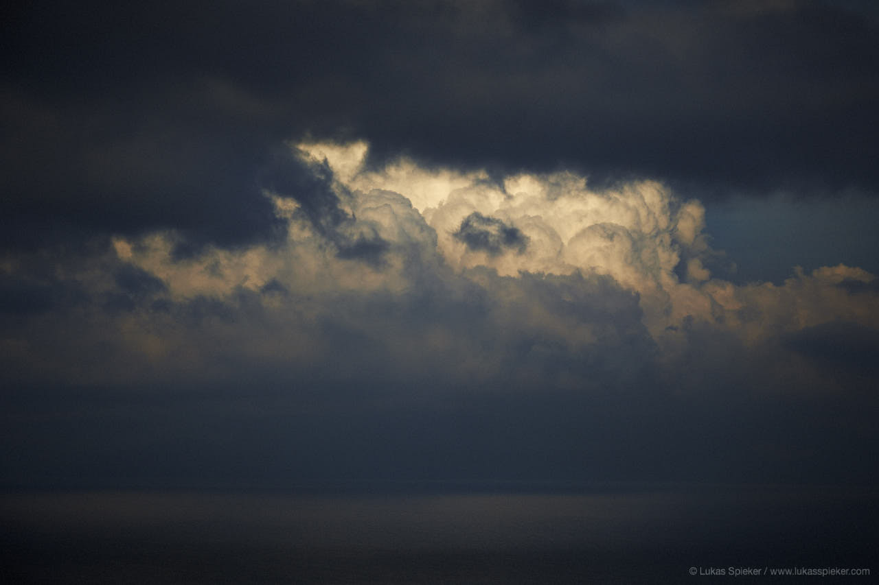 Clouds form over the Congolese shore of lake Kivu.