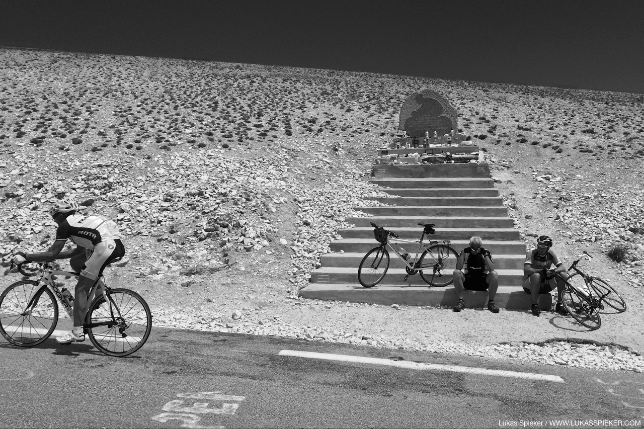 A memorial on Mont Ventoux reminds of English cyclist Tom Simpson, who died here on July 13th 1967 during stage 13 of the Tour de France from heart failure caused by heat, exhaustion, alcohol and amphetamines.