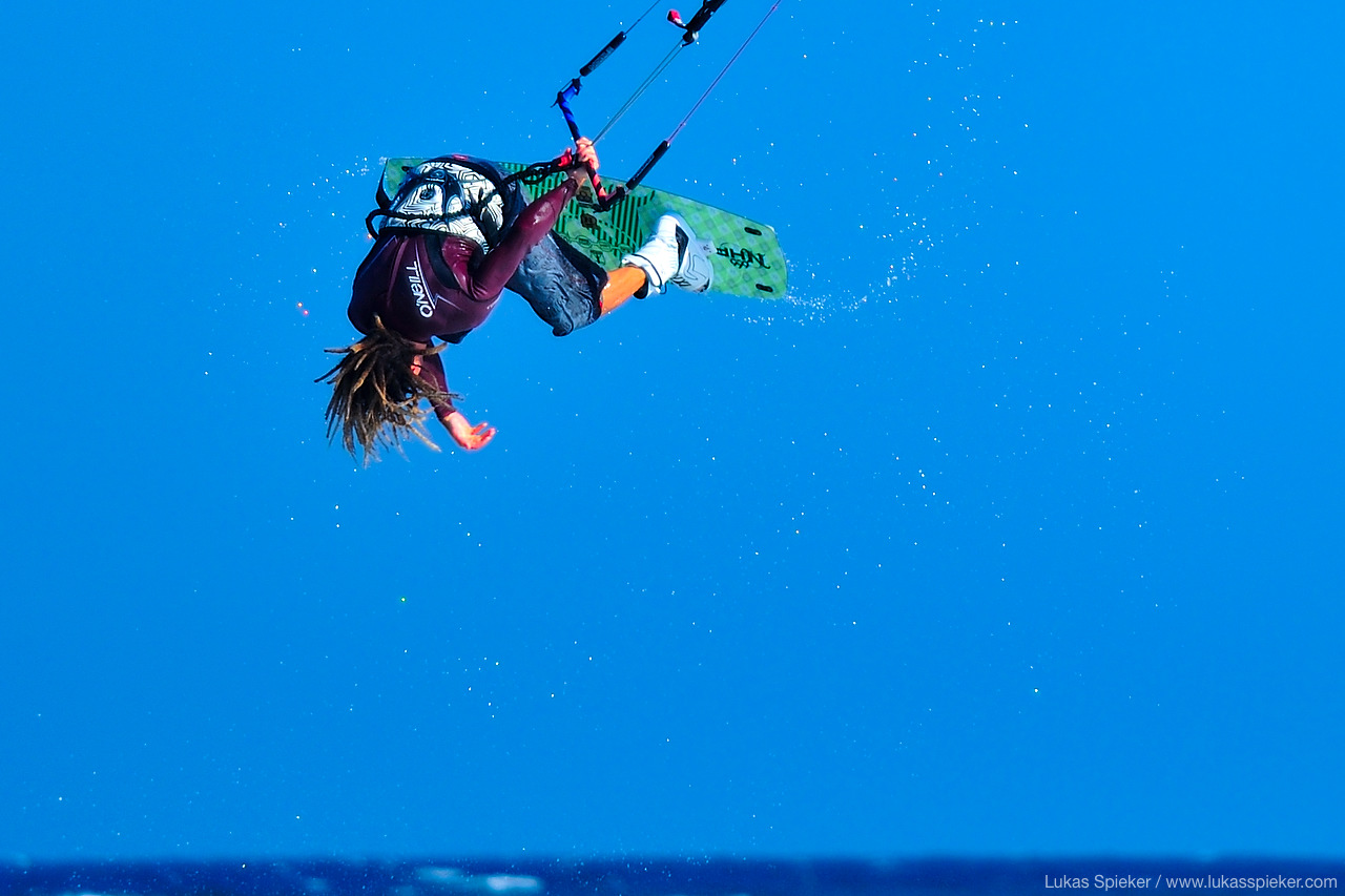 Pro tour kiteboarder Alessandro Lugaresi jumps a Back Mobe trick in El Medano, Spain.