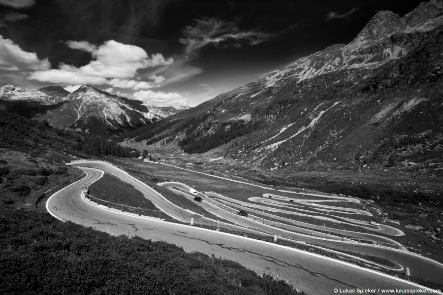 The Spluegen Pass connects the Swiss Hinterrhein valley with Chiavenna in Italy. The pass is also the border between Italy and Switzerland. Since the construction of the San Bernardino tunnel, the pass has lost its importance. The road was opened in 1823.