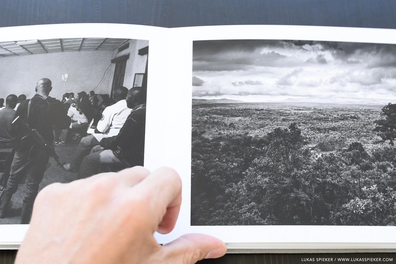 Virunga photobook with black and white images from the Virunga mountains in Congo and Rwanda.